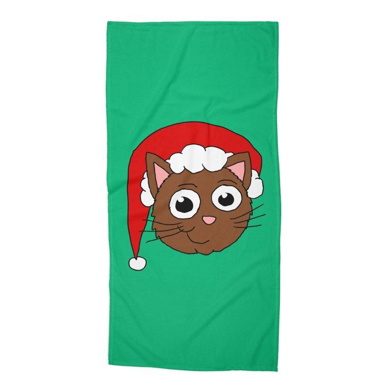 Cute Xmas Kitty Accessories Beach Towel by ericallen's Artist Shop
