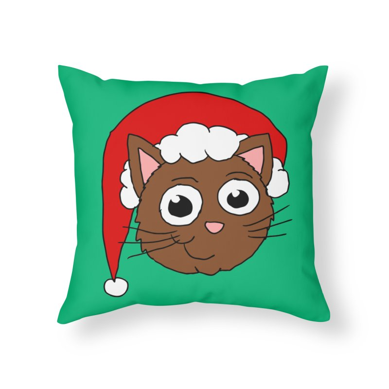 Cute Xmas Kitty Home Throw Pillow by ericallen's Artist Shop
