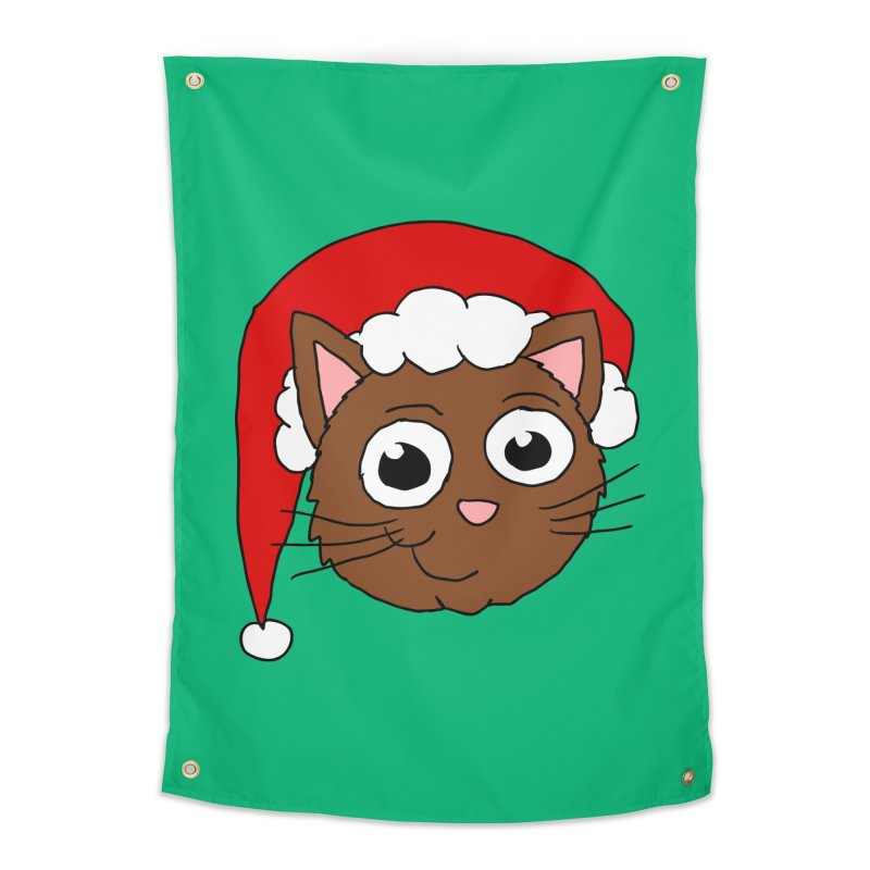 Cute Xmas Kitty Home Tapestry by ericallen's Artist Shop