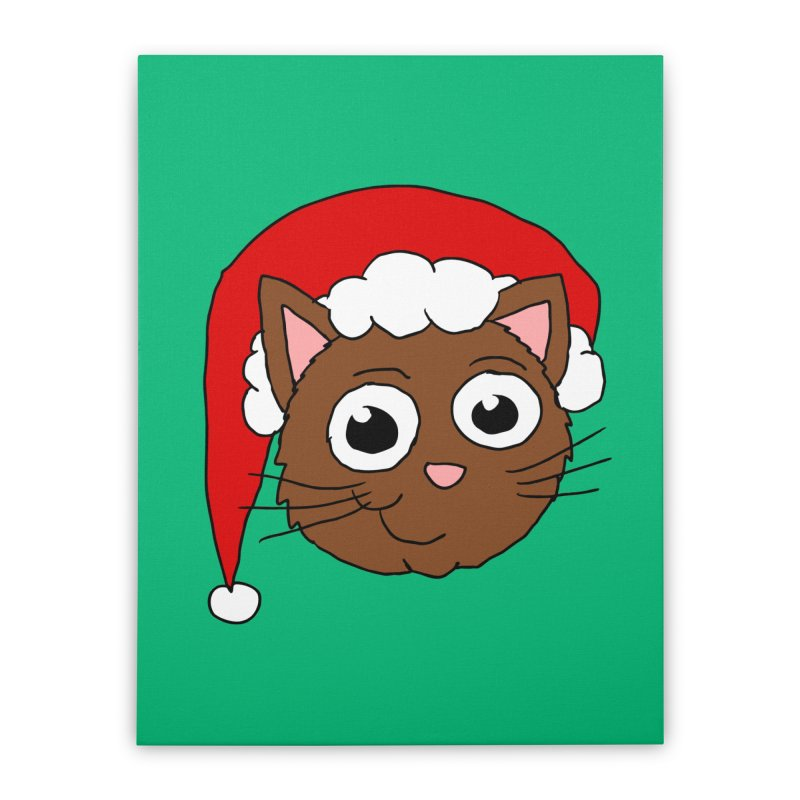 Cute Xmas Kitty Home Stretched Canvas by ericallen's Artist Shop