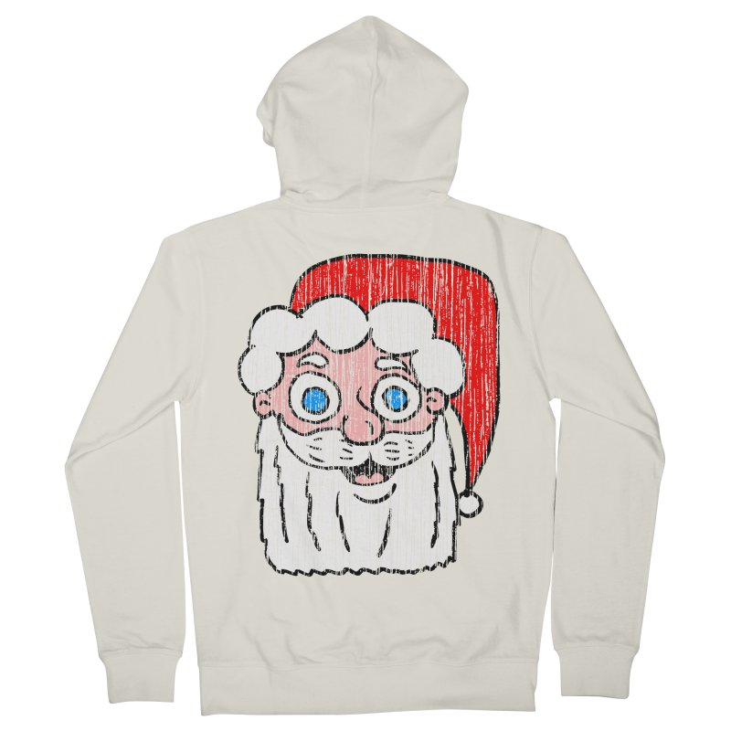 Vintage Cartoon Santa Head Women's Zip-Up Hoody by ericallen's Artist Shop