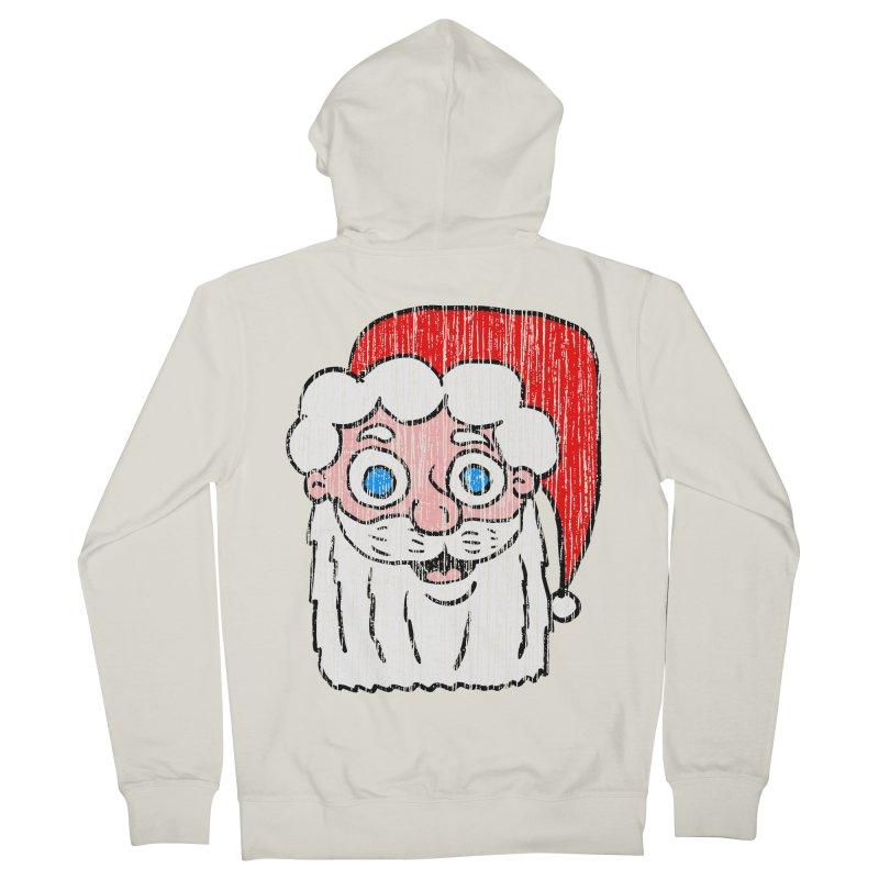 Vintage Cartoon Santa Head Men's Zip-Up Hoody by ericallen's Artist Shop