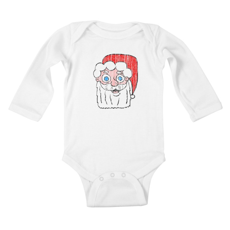 Vintage Cartoon Santa Head Kids Baby Longsleeve Bodysuit by ericallen's Artist Shop
