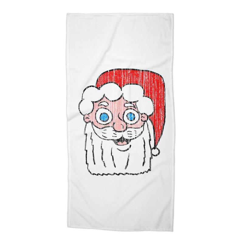 Vintage Cartoon Santa Head Accessories Beach Towel by ericallen's Artist Shop