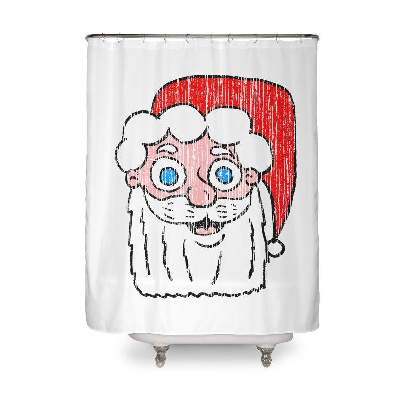 Vintage Cartoon Santa Head Home Shower Curtain by ericallen's Artist Shop