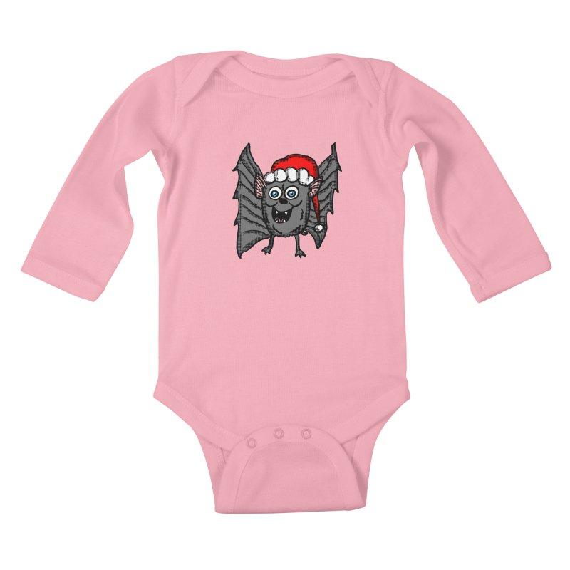 Christmas Bat Kids Baby Longsleeve Bodysuit by ericallen's Artist Shop