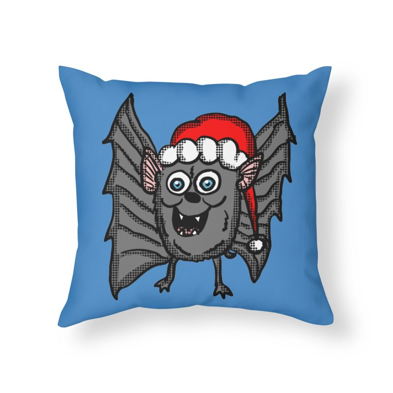 Christmas Bat Home Throw Pillow by ericallen's Artist Shop