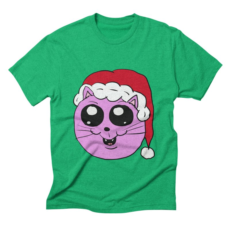 Cute Christmas Kitty Men's Triblend T-Shirt by ericallen's Artist Shop