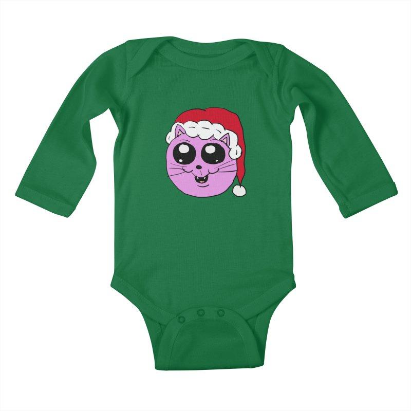 Cute Christmas Kitty Kids Baby Longsleeve Bodysuit by ericallen's Artist Shop
