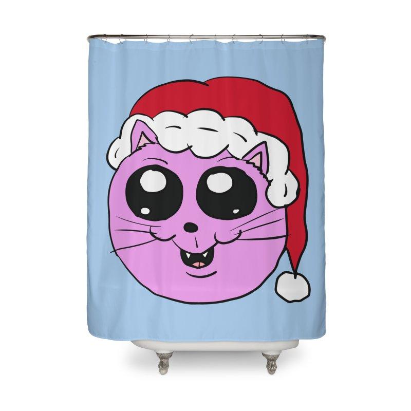 Cute Christmas Kitty Home Shower Curtain by ericallen's Artist Shop