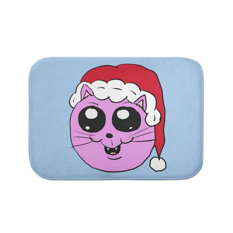 Cute Christmas Kitty Home Bath Mat by ericallen's Artist Shop