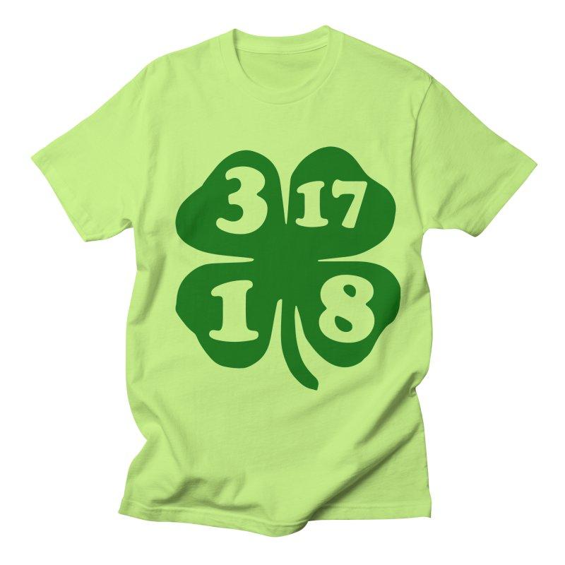 3-17-18 Shamrock (dark green) in Men's T-Shirt Neon Green by ericallen's Artist Shop