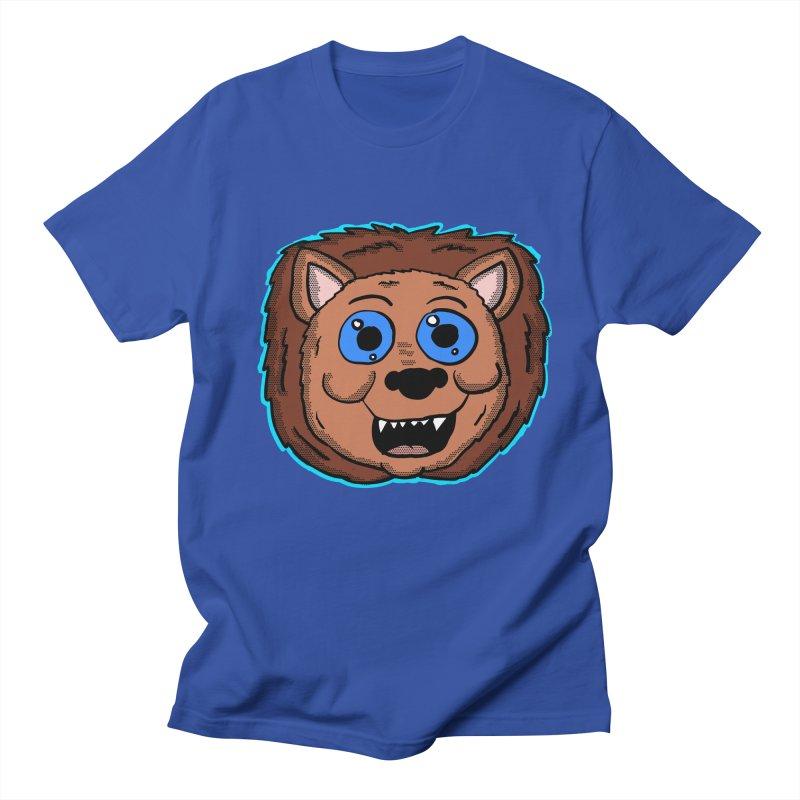 Cartoon Lion Head in Men's T-Shirt Royal Blue by ericallen's Artist Shop