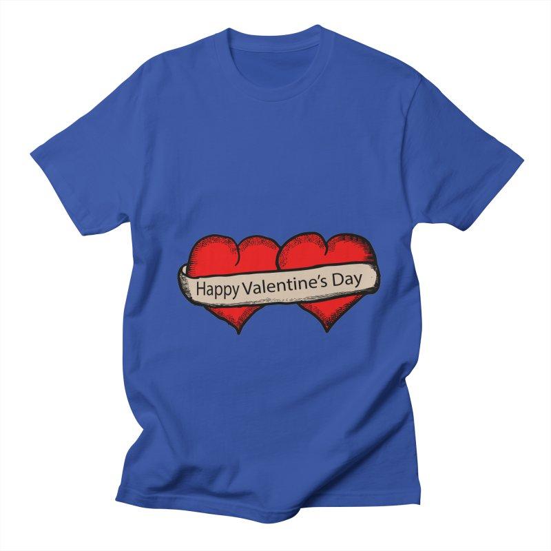 Happy Valentine's Day 2 Hearts in Men's T-Shirt Royal Blue by ericallen's Artist Shop