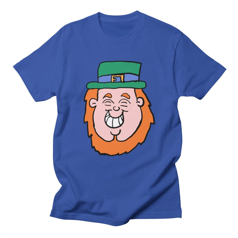 Happy Cartoon Leprechaun head in Men's T-Shirt Royal Blue by ericallen's Artist Shop