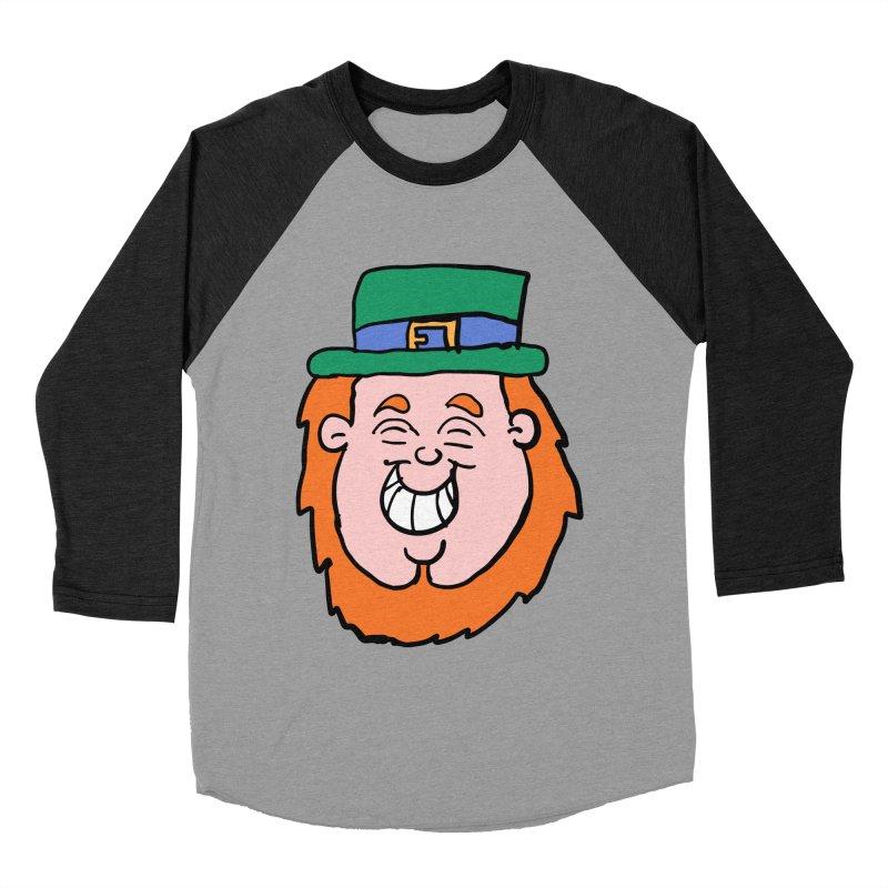 Happy Cartoon Leprechaun head Men's Baseball Triblend T-Shirt by ericallen's Artist Shop