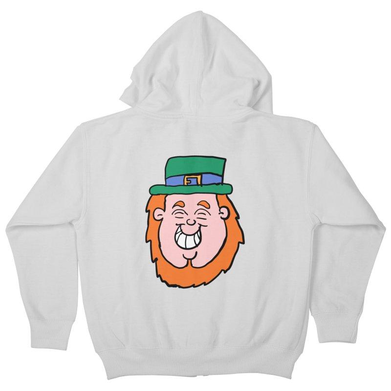Happy Cartoon Leprechaun head Kids Zip-Up Hoody by ericallen's Artist Shop
