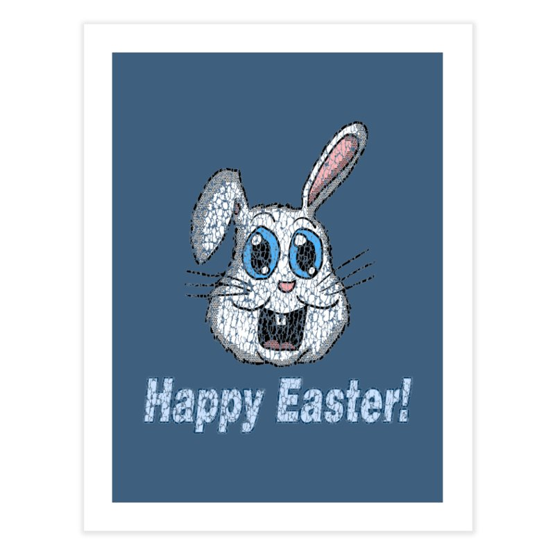 Vintage Happy Easter Bunny Home Fine Art Print by ericallen's Artist Shop