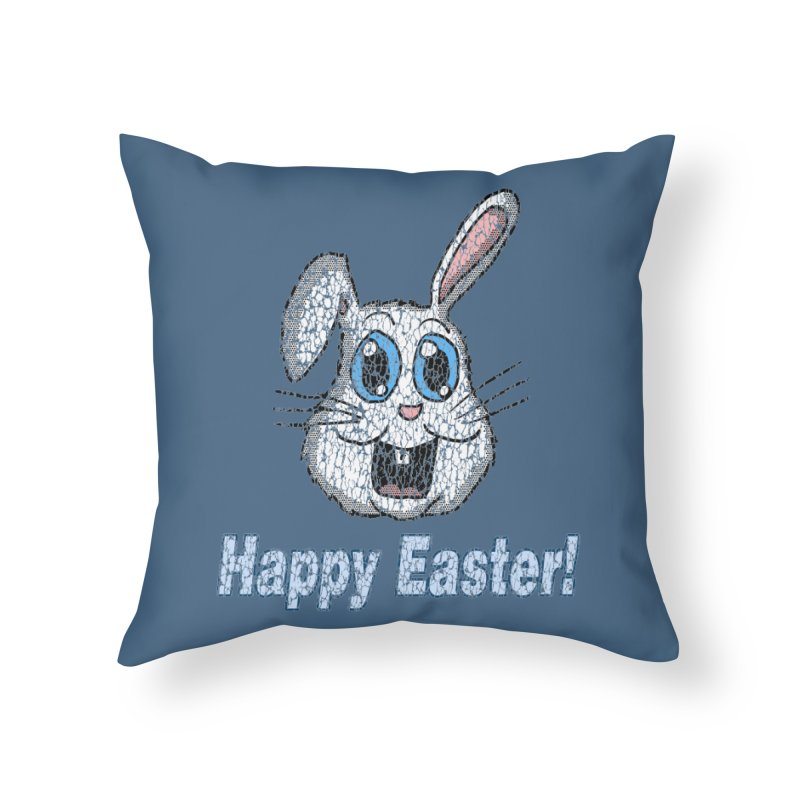 Vintage Happy Easter Bunny Home Throw Pillow by ericallen's Artist Shop