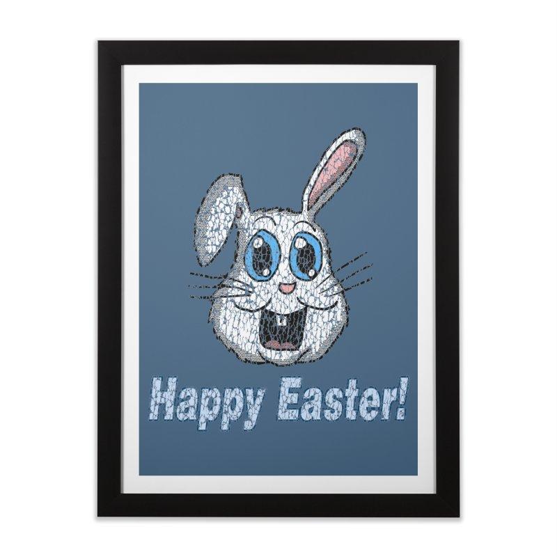 Vintage Happy Easter Bunny Home Framed Fine Art Print by ericallen's Artist Shop