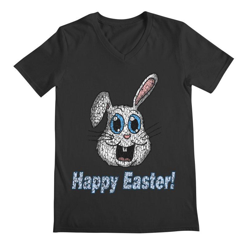 Vintage Happy Easter Bunny Men's V-Neck by ericallen's Artist Shop