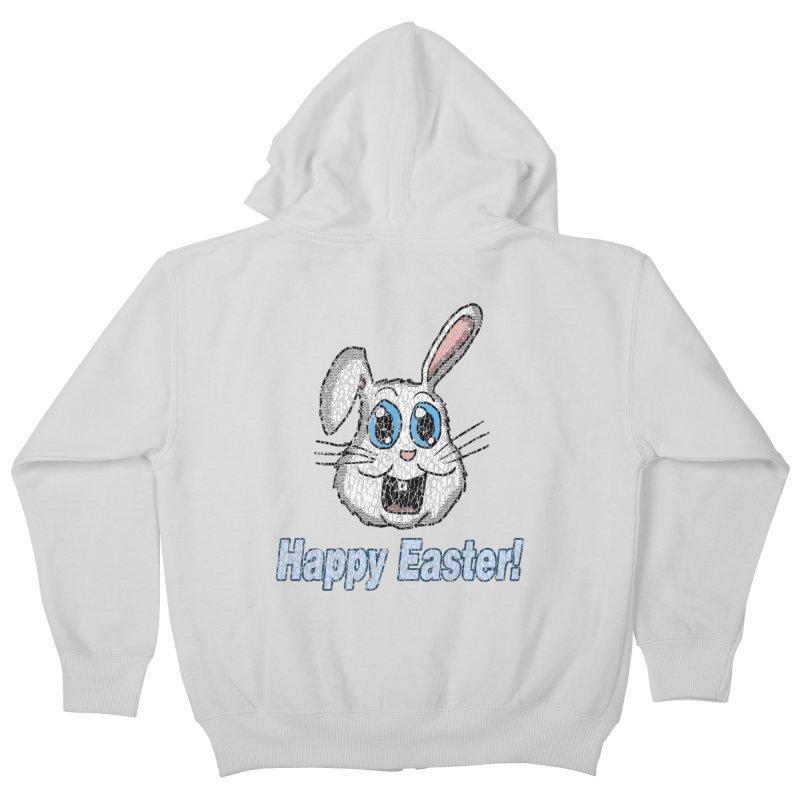 Vintage Happy Easter Bunny Kids Zip-Up Hoody by ericallen's Artist Shop
