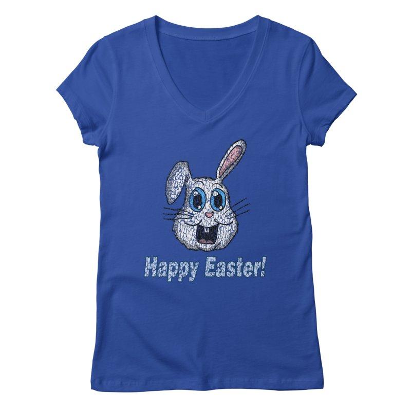 Vintage Happy Easter Bunny Women's V-Neck by ericallen's Artist Shop