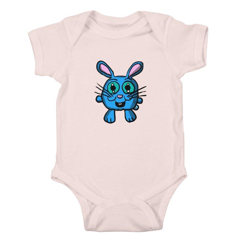 Chibi Blue Bunny Kids Baby Bodysuit by ericallen's Artist Shop