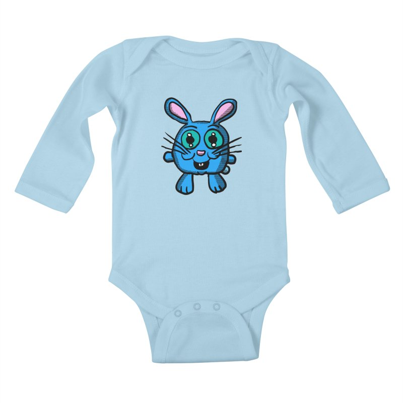 Chibi Blue Bunny Kids Baby Longsleeve Bodysuit by ericallen's Artist Shop