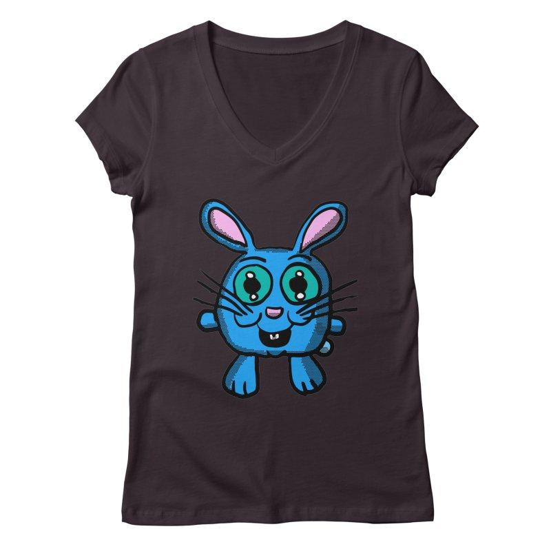 Chibi Blue Bunny Women's V-Neck by ericallen's Artist Shop