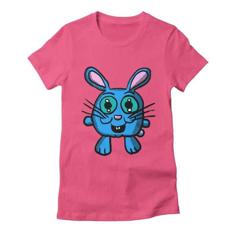 Chibi Blue Bunny Women's Fitted T-Shirt by ericallen's Artist Shop