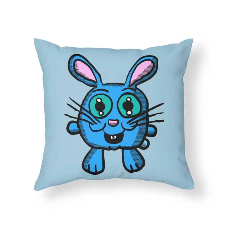 Chibi Blue Bunny Home Throw Pillow by ericallen's Artist Shop