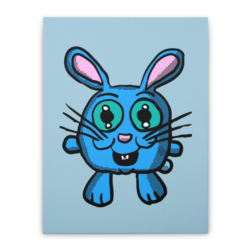 Chibi Blue Bunny Home Stretched Canvas by ericallen's Artist Shop