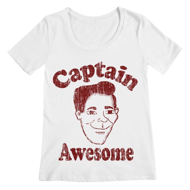 Vintage Captain Awesome Women's Scoopneck by ericallen's Artist Shop