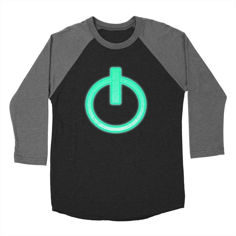 Glowing Power Button symbol Women's Baseball Triblend T-Shirt by ericallen's Artist Shop