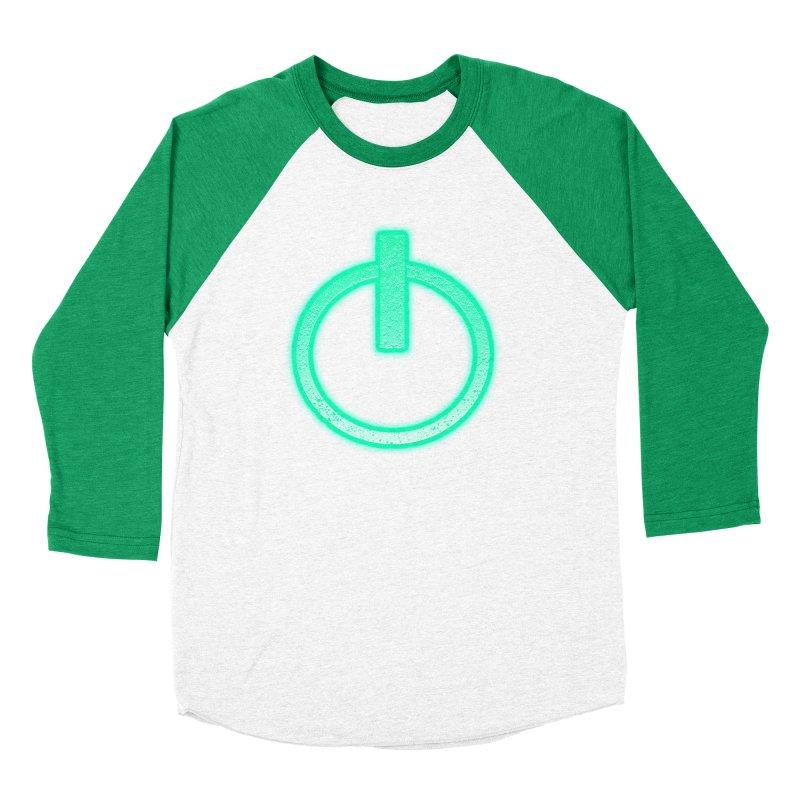 Glowing Power Button symbol Men's Baseball Triblend T-Shirt by ericallen's Artist Shop