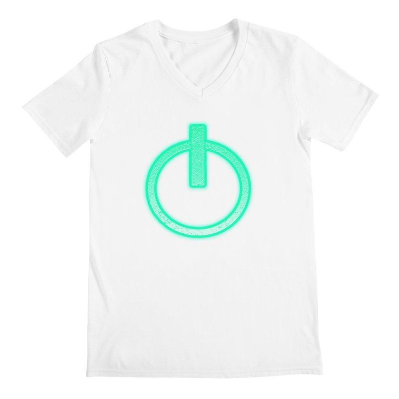 Glowing Power Button symbol Men's V-Neck by ericallen's Artist Shop