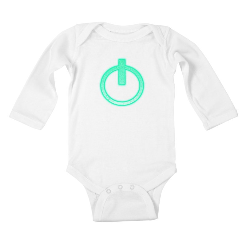 Glowing Power Button symbol Kids Baby Longsleeve Bodysuit by ericallen's Artist Shop