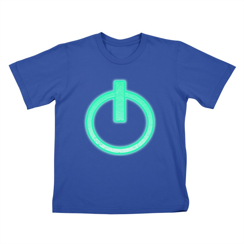 Glowing Power Button symbol Kids T-Shirt by ericallen's Artist Shop