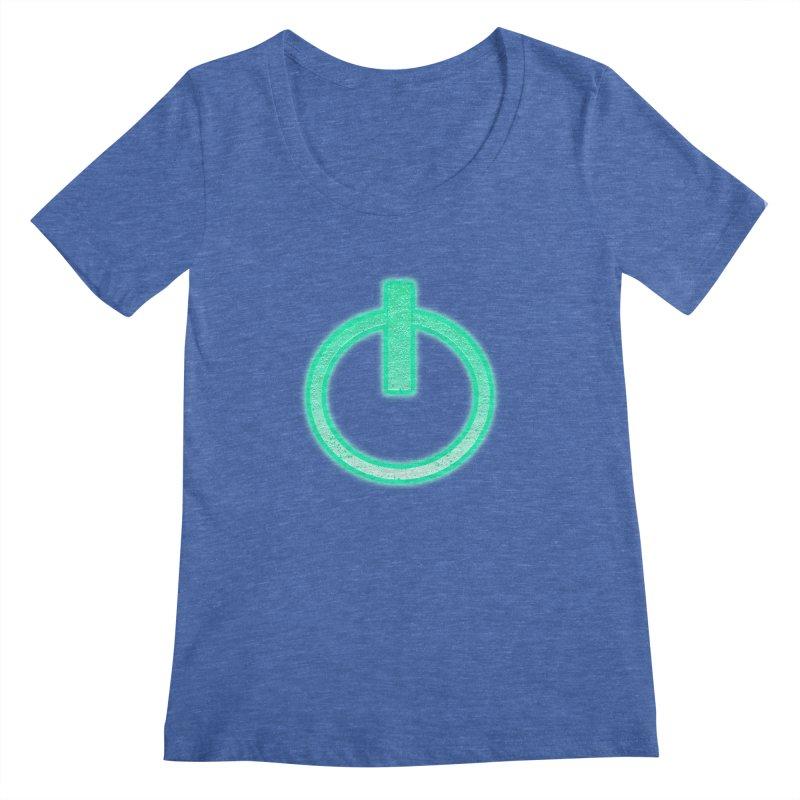 Glowing Power Button symbol Women's Scoopneck by ericallen's Artist Shop