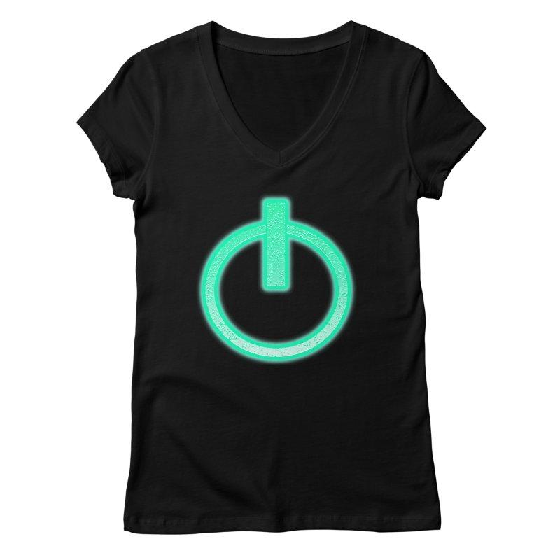 Glowing Power Button symbol Women's V-Neck by ericallen's Artist Shop
