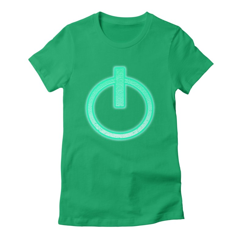 Glowing Power Button symbol Women's Fitted T-Shirt by ericallen's Artist Shop