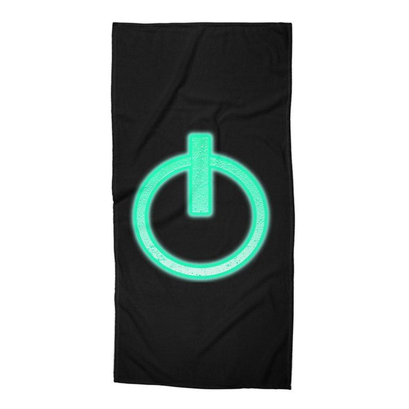 Glowing Power Button symbol Accessories Beach Towel by ericallen's Artist Shop