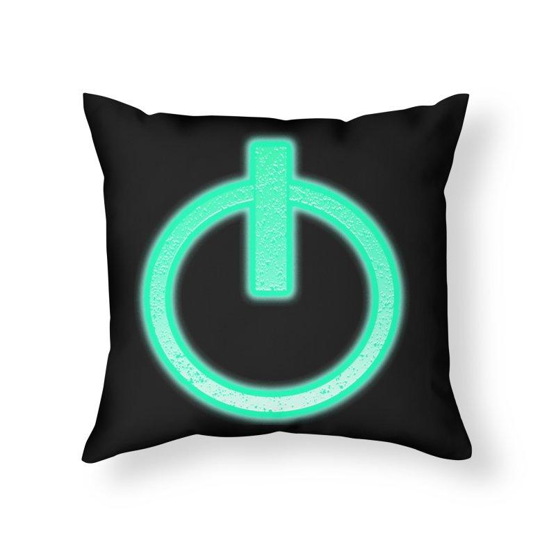 Glowing Power Button symbol Home Throw Pillow by ericallen's Artist Shop