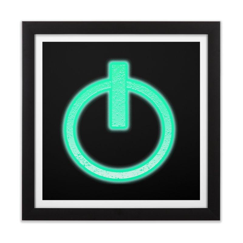 Glowing Power Button symbol Home Framed Fine Art Print by ericallen's Artist Shop