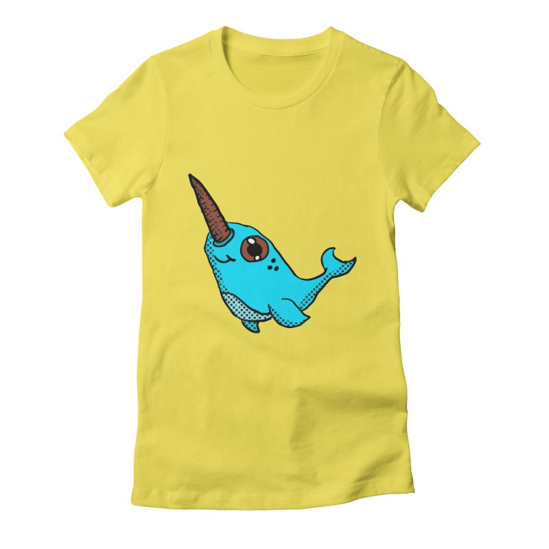 Blue Narwhal Women's Fitted T-Shirt by ericallen's Artist Shop