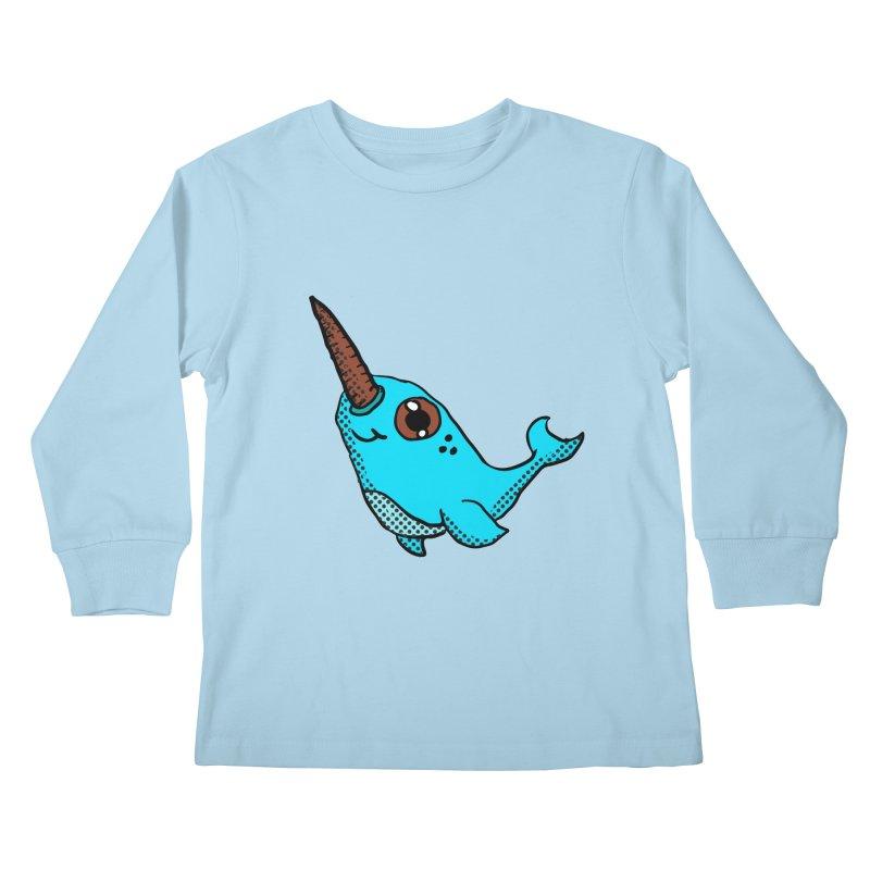 Blue Narwhal Kids Longsleeve T-Shirt by ericallen's Artist Shop