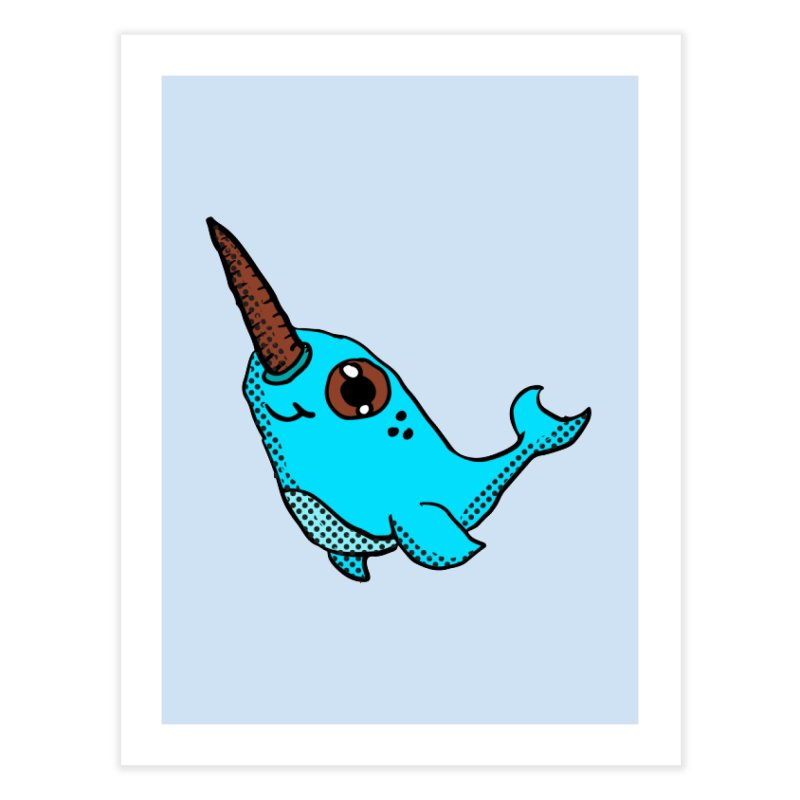 Blue Narwhal Home Fine Art Print by ericallen's Artist Shop