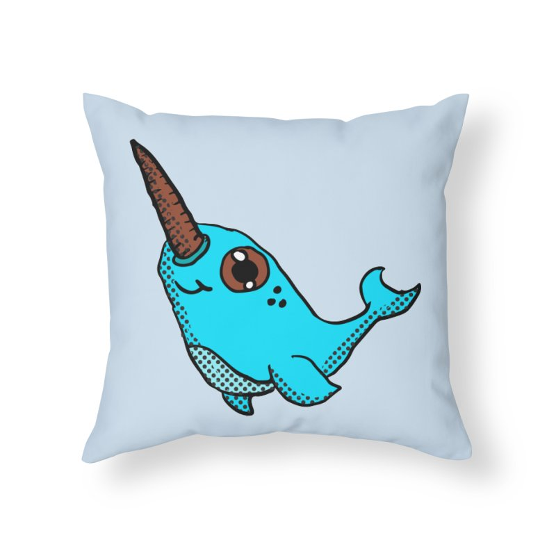 Blue Narwhal Home Throw Pillow by ericallen's Artist Shop