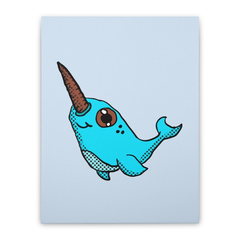 Blue Narwhal Home Stretched Canvas by ericallen's Artist Shop